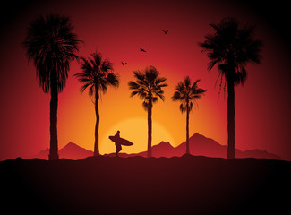 Silhouette of a surfer and palm trees at sunset