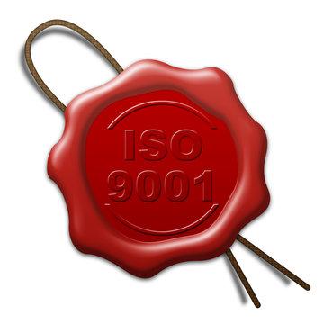 Lacre de cera 3d con texto ISO 9001