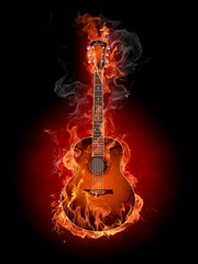 Foto op Canvas Vlam Burning guitar