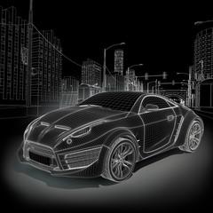 Sports car blueprint. Original car design.