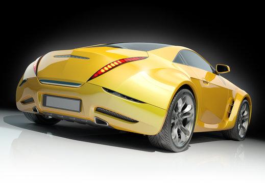 Yellow sports car. Non-branded car design.