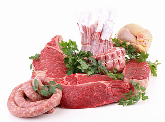 assorted of fresh raw meats