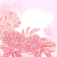 Card with peony on grunge background. Vector illustration.