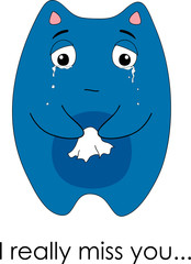 Cute blue crying monster
