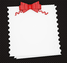 Vintage wedding (holiday) paper background with red bow.