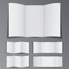 Set of different folded paper booklet