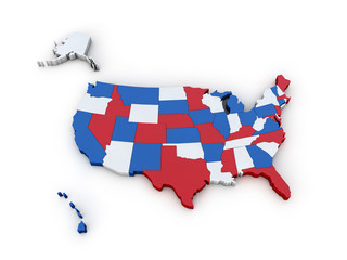 USA map 3d render illustration