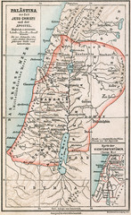 Map of Palestine the time of Jesus. The Bible. Germany, 1895