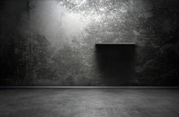 Dark room interior with shelf