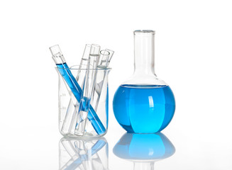 Chemical flask with a blue tubes inside