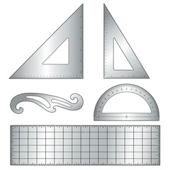 Metal Drafting Tools, architecture, engineering: triangle, ruler