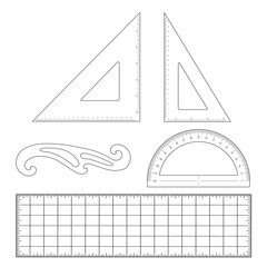 Drafting Tools for architecture, engineering: triangles, rulers