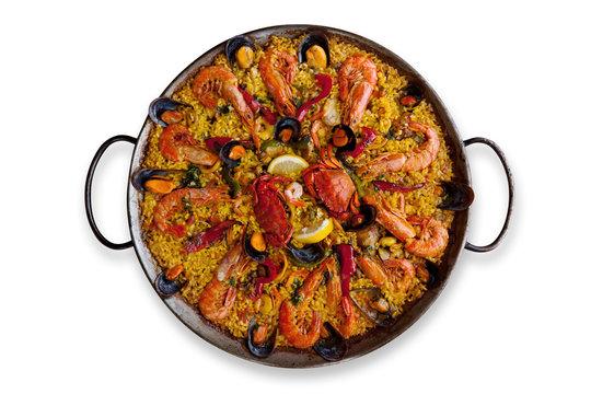 Isolated Traditional Spanish Paella