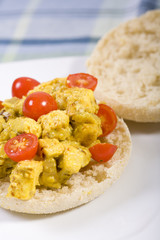 Openfaced Vegan Tofu Salad Sandwich with tomatoes