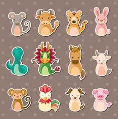 12 Chinese Zodiac animal stickers