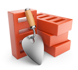 Trowel and bricks. Work tool. 3D icon isolated on white backgrou