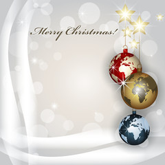 World Christmas baubles background