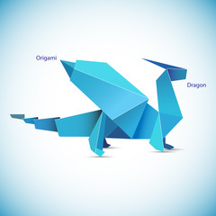 illustration of a blue origami dragon figure