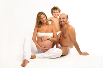 happy family with pregnant woman
