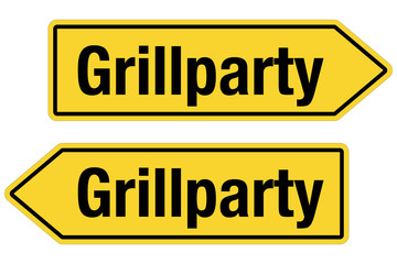 2 Pfeilschilder gelb GRILLPARTY