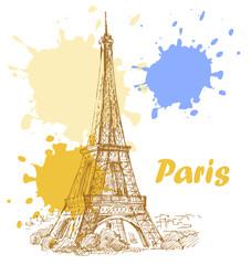 Foto op Canvas Illustratie Parijs france background