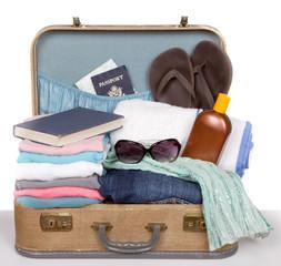 Packed vintage suitcase