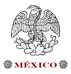 mexican eagle with hats of liberty