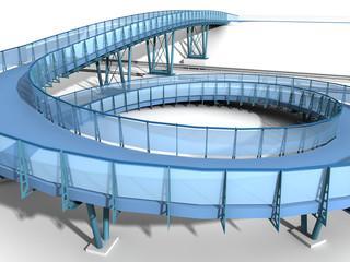 Steel blue bridge isolated on white background