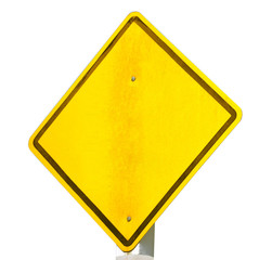 empty road sign isolated on white