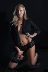 sexy topless girl in a jacket