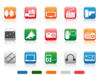 button media tools icon set