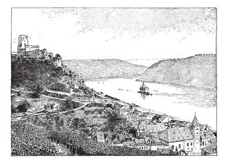Burg Gutenfels, Rhin river, Germany, vintage engraving.