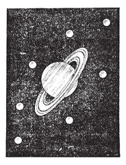 Saturn and its satellites engraving