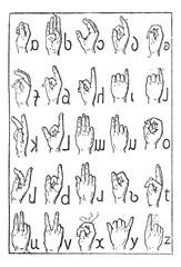 Alphabet of deaf-mutes, vintage engraving.