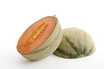 Halbierte Cantaloupemelone