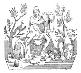 Orpheus attracting wild animals to the sound of his lyre, vintag