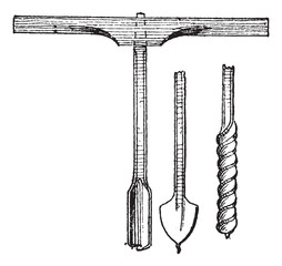 Auger and Drill bits vintage engraving