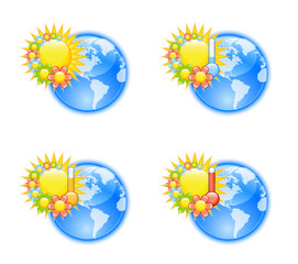 Cute weather icons with flowers