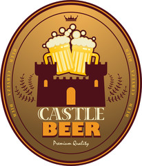 Label with beer mugs and the text Castle Beer