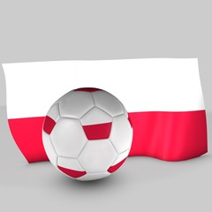 balón y bandera polonia