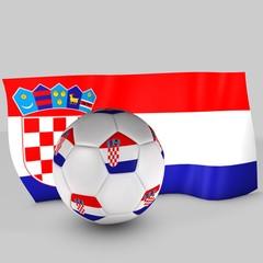 balón y bandera croacia