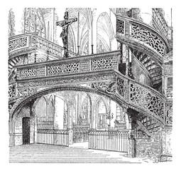 Jube, church of Saint-Etienne-du-Mont, Paris, France, vintage en