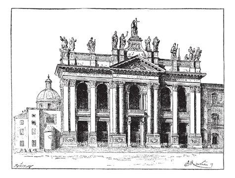 Basilica of Saint John Lateran in Vatican City, vintage engravin