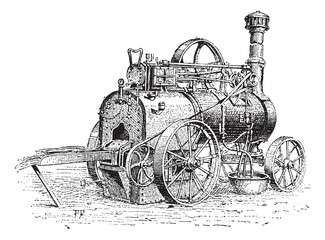 Agricultural Traction Engine, vintage engraving