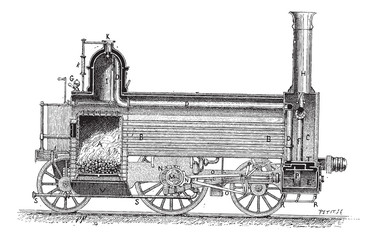Steam Locomotive, vintage engraving