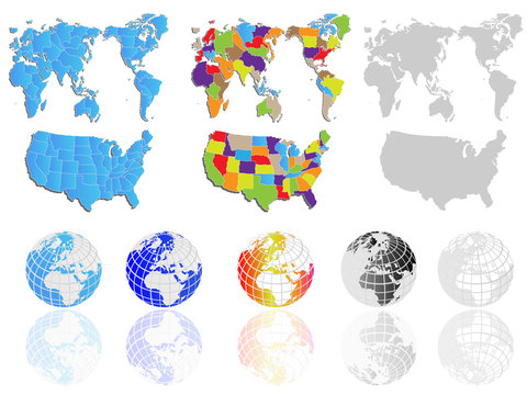 WORLD MAP AND EARTH GLOBES