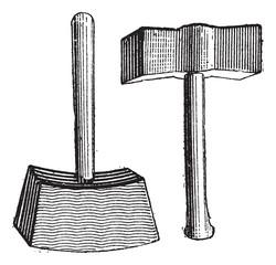 Lump Hammer, vintage engraving