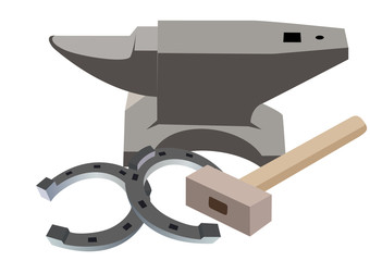 Anvil, hammer and a horseshoe