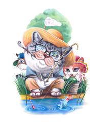 釣りをする猫と子供たち