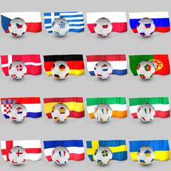 set banderas y balones equipos eurocopa 2012